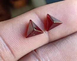 Natural Garnet Cabochon Caliberated Pair Genuine Gemstones VA5478
