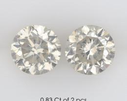 0.83 Ct of 2 pcs I SI1 Natural White Diamonds Pair Round 4.48-4.50mm