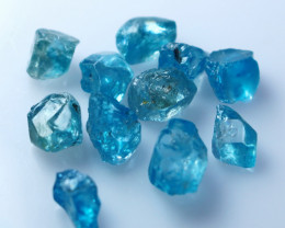 NR!!! 30.20 CTs Natural Blue Zircon Rough Lot
