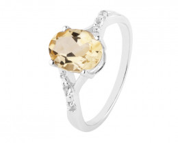 Citrine 925 Sterling silver ring #706