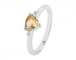 Citrine 925 Sterling silver ring #710
