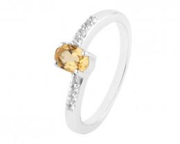 Citrine 925 Sterling silver ring #723