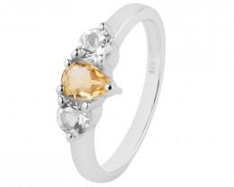 Citrine 925 Sterling silver ring #725