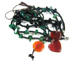 THREE TRIBAL AGATE NECKLACE S TR 682