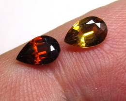 1.18tcw Natural Australian Miss Matched Pear Shape Zircons 2pcs