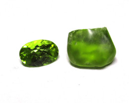 2.86tcw Peridot Rough and Cut Before and After Sample Set