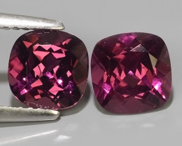 3.85 CTS~ RAREST NATURAL TOP LUSTER RHODOLITE GARNET 2 PAIR