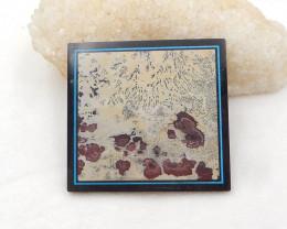 388Cts Natural Black Stone And Chohua Jasper Square Intarsia Gemstone Caboc