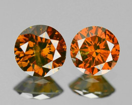 Paired 0.34 Cts Rare Fancy Cognac Red Color Natural Diamond