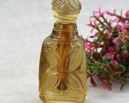 Genuine 305.00 Cts White Quartz  Hand Carved Perfume Bottle
