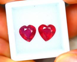 Ruby 5.58Ct 2Pcs Heart Shape Madagascar Blood Red Ruby EN84/A20