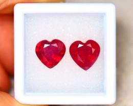 Ruby 6.77Ct 2Pcs Heart Shape Madagascar Blood Red Ruby EN92/A20