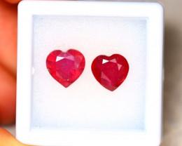 Ruby 4.30Ct 2Pcs Heart Shape Madagascar Blood Red Ruby EN103/A20