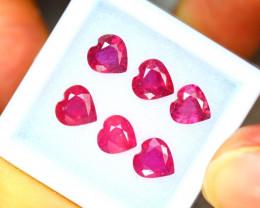 Ruby 5.84Ct 6Pcs Heart Shape Madagascar Blood Red Ruby EN105/A20