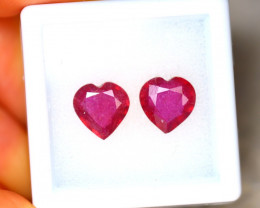 Ruby 3.66Ct 2Pcs Heart Shape Madagascar Blood Red Ruby EN108/A20