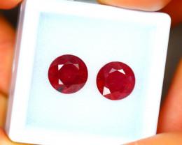 Ruby 6.40Ct 2Pcs Madagascar Blood Red Ruby EN109/A20