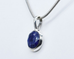BLUE SAPPHIRE PENDANT 925 STERLING SILVER NATURAL GEMSTONE JP335