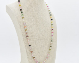 MULTI NECKLACE NATURAL GEM 925 STERLING SILVER JN61