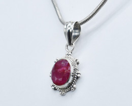 RUBY PENDANT 925 STERLING SILVER NATURAL GEMSTONE JP337