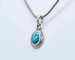 TURQUOISE PENDANT 925 STERLING SILVER NATURAL GEMSTONE JP338