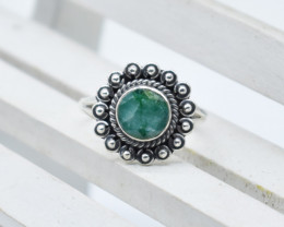EMERALD RING 925 STERLING SILVER NATURAL GEMSTONE JR1158