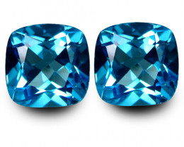 5.26Cts Sparkling Natural Swiss Blue Topaz Master Cushion Matching Pair VID