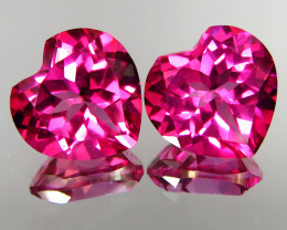 8.20Ct Genuine Amazing Natural Pink Topaz 10mm Heart Shape Matching Pair