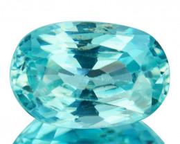~SHIMMERING~ 2.16 Cts Natural Greenish Blue Zircon Oval Cut Cambodia