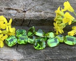 33 carats natural step cushions peridots gemstone