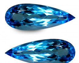 11.52Cts Sparkling Natural Swiss Blue Topaz Long Pear Shape Matching  Pair