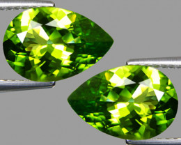 8.14Cts Genuine Excellent Natural Peridot Pear Shape Matching Pair REF VIDE