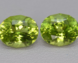 Natural Peridot Matched Pair 8.06 Cts Precision Cut, Pakistan