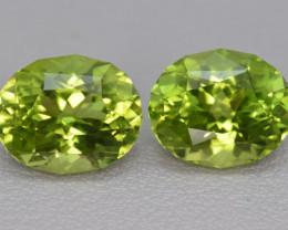 Natural Peridot Matched Pair 8.06 Cts Precision Cut, Pakistan