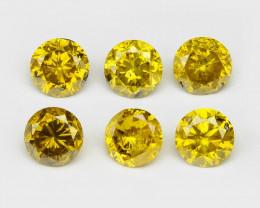 Diamonds 0.37 Cts 6 Pcs Sparkling Fancy Vivid Yellow Color Natural