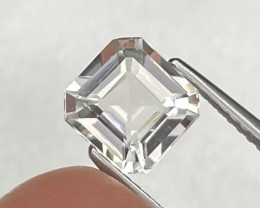1.69 Cts Asscher Cut Rare White Color Afghanistan Natural Tourmaline
