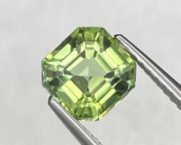 1.84 Cts Fine Grade Asscher Cut Afghanistan Natural Apple Green Tourmaline