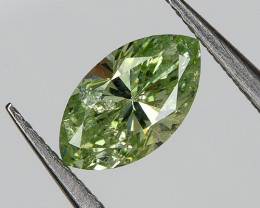 Loose Natural Green Diamond RARE ! 0.21 Ct  Marquise 5.27x2.97mm