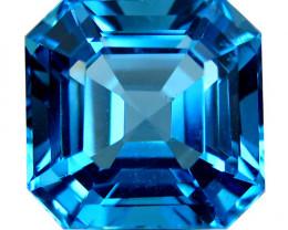 5.70Cts Sparkling Natural  Swiss Blue Topaz Asher Cut Loose GEM REF VIDEO