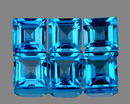3.70 mm Square 6 pcs 1.95cts Swiss Blue Topaz [VVS]