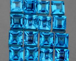 3.40 mm Square 16 pcs 4.30cts Swiss Blue Topaz [VVS]