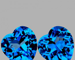 6.00 mm Heart 2 pcs 2.07cts Swiss Blue Topaz [VVS]