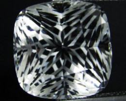 19.88Cts Genuine Amazing Unheated precision Cushion Cut White Topaz See VED
