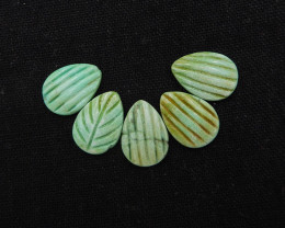 27.5cts gemstone carving leaf and shell shape turquoise cabochons H1957