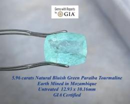 5.96ct GIA Paraiba - Vibrant  Neon Bluish Green /  UNHEATED  12.93 x10.16mm