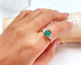 1.72Ct Natural Zambian Emerald Pink Gold Over Sterling Silver F21