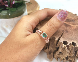 0.50Ct Natural Zambian Emerald Pink Gold Over Sterling Silver B3014