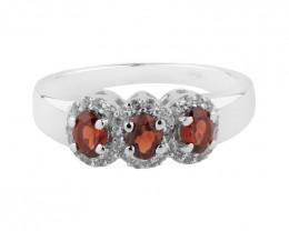 Garnet 925 Sterling silver ring #720