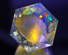 78.46Ct Ghost Phantom Faceted Neon Flash Ethiopian Welo Opal B1225