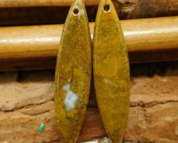 African jade brown earring beads (G2735)