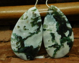 Moss agate earring pairs (G2737)